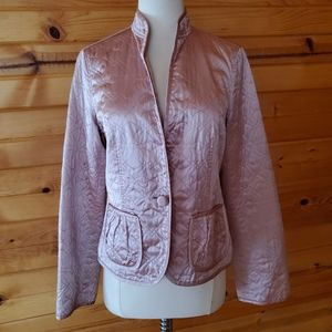 Banana Republic Pink, Shimmery, Quilted, Silk Jack